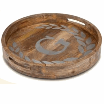 GG Collection 20'' Round Mango Wood & Metal Tray P