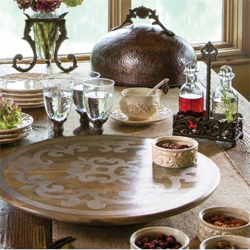 GG Collection 22 inch Wood Lazy Susan with Metal Inlay