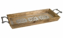 GG Collection 30 inch Wood Tray with Metal Inlay