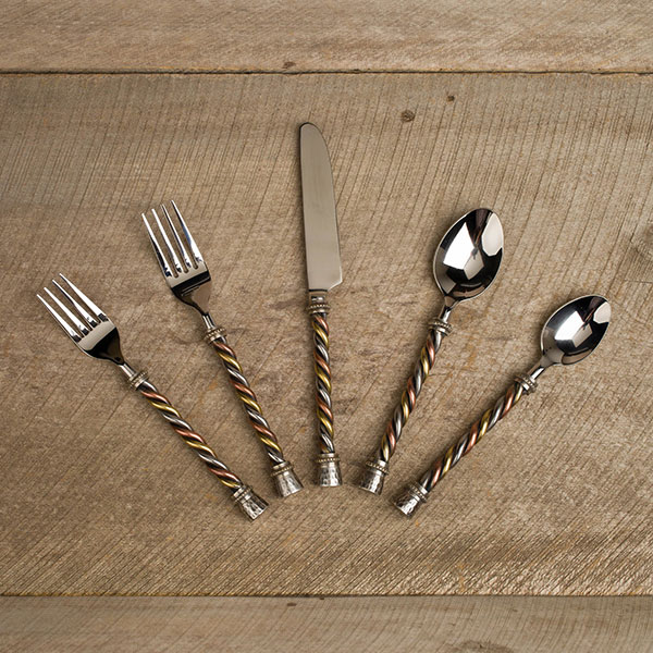 Gg collection 5 piece twisted flatware set - Twisted silverware ...