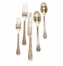 GG Collection Golden Floral Stainless Steel Flatware (2 Sets)