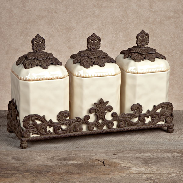 decorative canister sets kitchen gg collection gracious goods 3 ceramic 17162