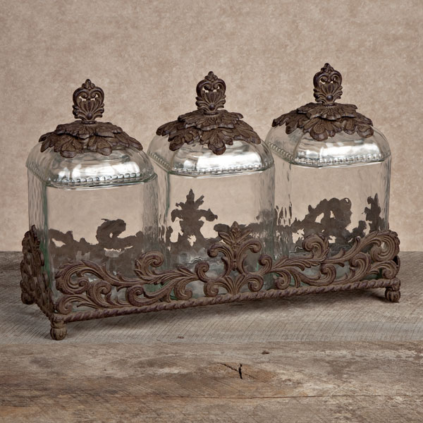 ordinary Glass Kitchen Canisters Sets Part - 13: GG Collection Gracious Goods 3 Piece Glass Canister Set with Brown Metal  Base