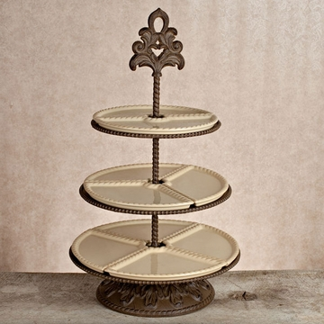 GG Collection Gracious Goods 3 Tiered Server - Cream - Baroque