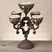 GG Collection Gracious Goods Brown Metal Epergne with 5 Ceramic Inserts