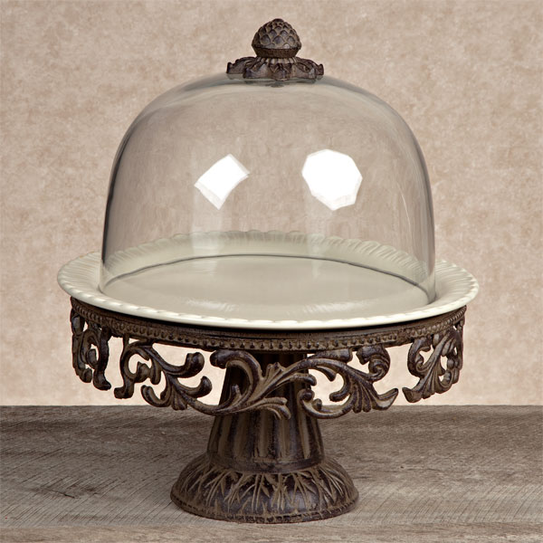 Gg Collection Gracious Goods Cake Pedestal With Dome Amp Plate