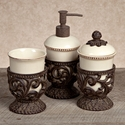 GG Collection Gracious Goods Cream 3 Piece Vanity Set with Metal Holders