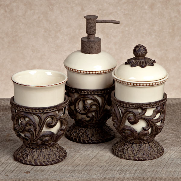 Gg collection gracious goods cream 3 piece vanity set with for Bathroom accessories collection