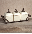 GG Collection Gracious Goods Cream Ceramic Barcelona Jar Set with Metal Tray