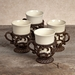 GG Collection Gracious Goods Cream Ceramic Cups with Metal Holders (4)