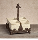 GG Collection Gracious Goods Cream Ceramic & Metal Flatware Caddy