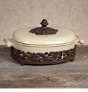 GG Collection Gracious Goods Cream Covered Casserole with Metal Base