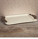 GG Collection Gracious Goods Cream Rectangular Tray with Metal Handles