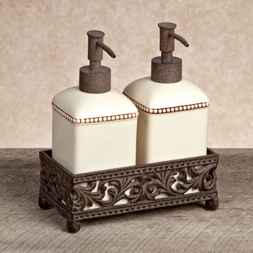 GG Collection Gracious Goods Cream Soap & Lotion Pump Set with Metal Base