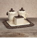 GG Collection Gracious Goods Cream Sugar & Creamer Set with Sweetener Box