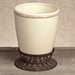 GG Collection Gracious Goods Cream Waste Basket with Metal Base