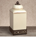 GG Collection Gracious Goods Large Cream Ceramic Canister with Metal Base