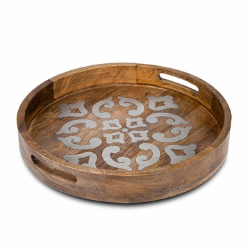 GG Collection Mango Wood With Metal Inlay 20'' Round Heritage Tray