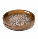 "GG Collection Mango Wood With Metal Inlay 20"" Round Heritage Tray"