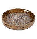 "GG Collection Mango Wood With Metal Inlay 24"" Round Heritage Tray"