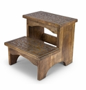 GG Collection Mango Wood With Metal Inlay Step Stool