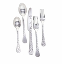 GG Collection Silver Floral Stainless Steel Flatware (2 Sets)
