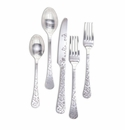 GG Collection Silver Floral Stainless Steel Flatware  (4 Sets)