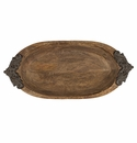 GG Collection Small Wooden Oval Bowl With Metal Handles