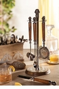 GG Collection Wood And Metal Bar Tool Stand