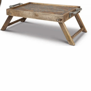 GG Collection Wood And Metal Bed Tray