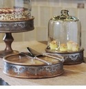 GG Collection Wood And Metal Inlay Med Pastry Keeper