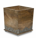 GG Collection Wood And Metal Inlay Wastebasket
