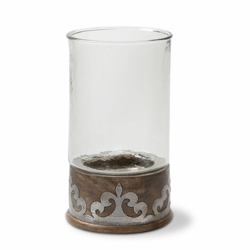 GG Collection Wood And Metal Lg Candleholder