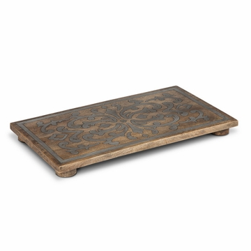GG Collection Wood And Metal Rectangular Trivet