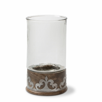 GG Collection Wood And Metal Sm Candleholder