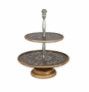 GG Collection Wood And Metal Two Tiered Server