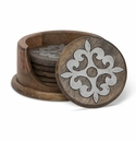 GG Collection Wood & Metal Coasters Set of 6