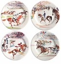 Gien Cavaliers Assorted Canape Plates Set of 4
