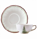 Gien Filet Noel Breakfast Cup & Saucer