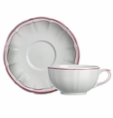 Gien Filet Raspberry Breakfast Cup & Saucer