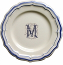 Gien Monogram Filet Bleu Dessert Plate