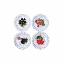 Gien Oiseau Blue Fruits Assorted Canape Plates