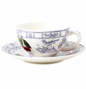 Gien Oiseau Blue Fruits Breakfast Cup & Saucer