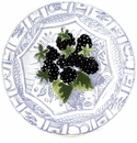 Gien Oiseau Blue Fruits Canape Plate Blackberry