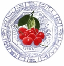 Gien Oiseau Blue Fruits Canape Plate Cherry