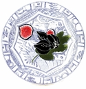 Gien Oiseau Blue Fruits Canape Plate Fig