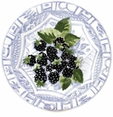 Gien Oiseau Blue Fruits Dessert Plate Blackberry