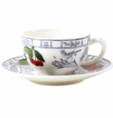 Gien Oiseau Blue Fruits Tea Cup & Saucer