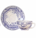 Gien Oiseau Blue & White Breakfast Cup & Saucer