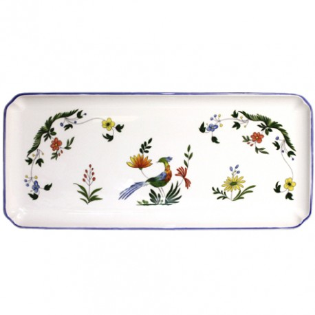 Gien oiseaux de paradis oblong serving tray for Oiseaux artificiels de decoration